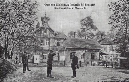 """Postkarte """"Gruss vom Schiessplatz Dornhalde bei Stuttgart"""" (ca. 1910)"""